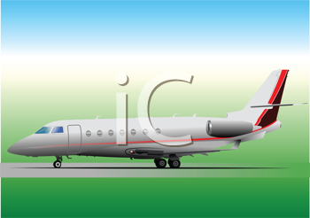 Royalty Free Clipart Image of a Plane on a Runway