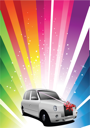 Royalty Free Clipart Image of a Rainbow Background With a Car With a Bow