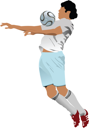 Royalty Free Clipart Image of a Soccer Player With a Ball at His Chest