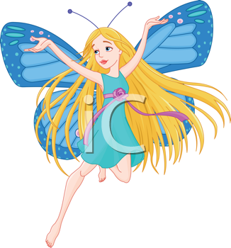 Royalty Free Clipart Image of a Fairy With Butterfly Wings