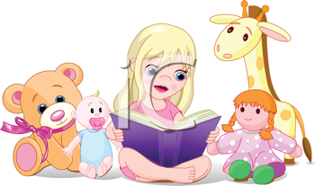 Royalty Free Clipart Image of a Little Girl Reading to Her Stuffed Animals