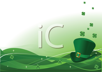 Royalty Free Clipart Image of a St. Patrick's Theme With a Leprechaun's Hat and Clovers