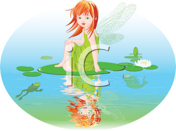Royalty Free Clipart Image of a Cute Fairy Sitting on a Water Lily Leaf