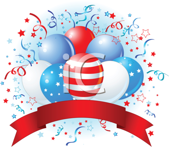 Royalty Free Clipart Image of American Balloons For a Celebration With a Banner
