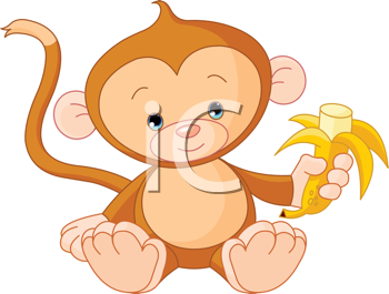 Royalty Free Clipart Image of a Baby Monkey Eating a Banana