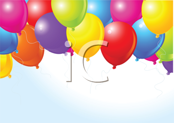 Royalty Free Clipart Image of Coloured Balloons