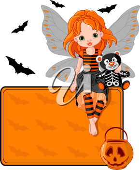 Illustration for Halloween fairy  sitting on place card