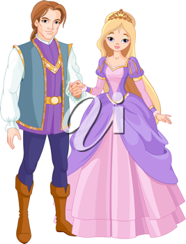 Illustration of charming prince and beautiful princess