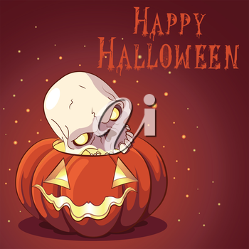 Royalty Free Clipart Image of a Halloween Greeting With a Skull and Jack-o-Lantern