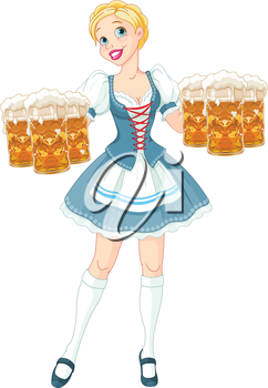 Royalty Free Clipart Image of a Girl With Beer