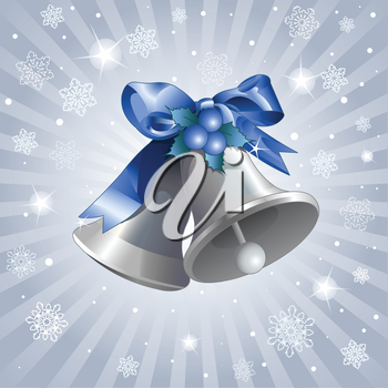 Royalty Free Clipart Image of Silver Bells on a Blue Background