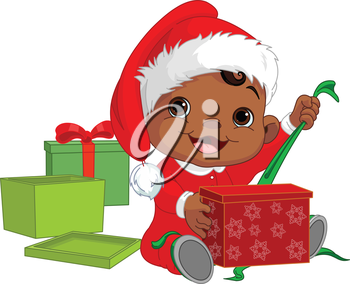 Royalty Free Clipart Image of a Baby Opening a Christmas Present