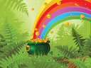 Pot  full of golden coins and the rainbow on spring meadow