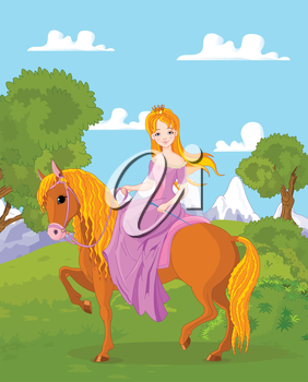 Illustration of beautiful princess riding horse