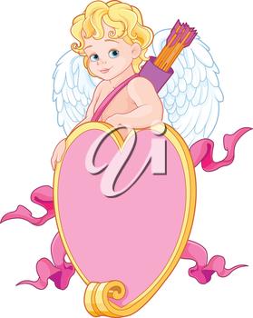 Baby Cupid over a heart shape sign