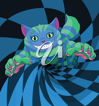 Cheshire cat jumping to the wonderland rabbit hole