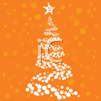 Royalty Free Clipart Image of a Christmas Tree on an Orange Background