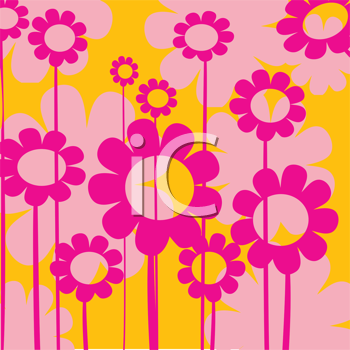 Royalty Free Clipart Image of a Vivid Pink and Yellow Flower Background