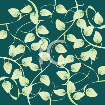 Royalty Free Clipart Image of a Leafy Pattern on a Green Background