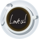 Message in a coffee cup, isolated objects over white background