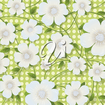 Green floral design, abstract background with stylized flowers and leaves.