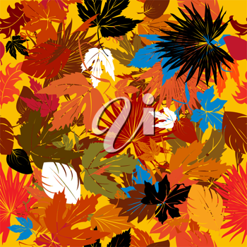 Decorative background with falling leaves,  seamless pattern