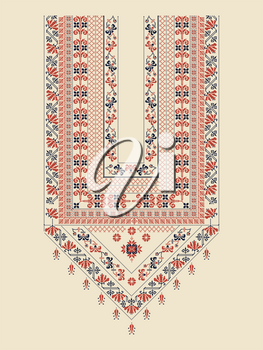 Vector pattern design with Palestinian traditional embroidery motif