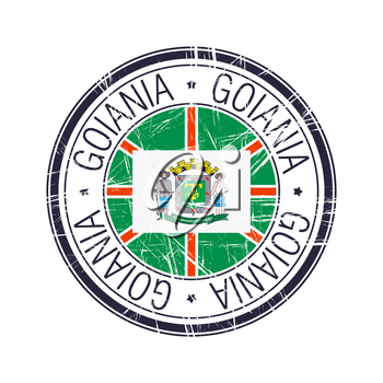 City of Goiania, Brazil postal rubber stamp, vector object over white background