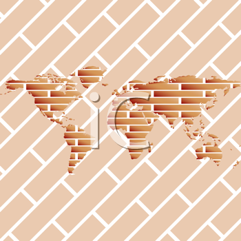 Royalty Free Clipart Image of a Brick World on Brick