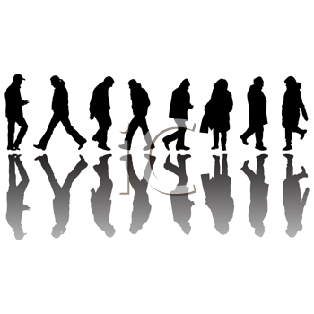Royalty Free Clipart Image of People Silhouettes