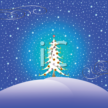 Royalty Free Clipart Image of a Christmas Greeting With a Tree and Snow
