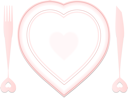 valentine plate and dishes in heart shapes against white background; abstract vector art illustration