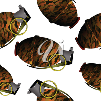 hand grenade pattern, abstract seamless texture, vector art illustration; image contains transparency