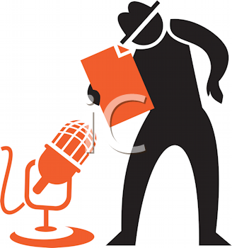 Royalty Free Clipart Image of a Silhouette With a Microphone