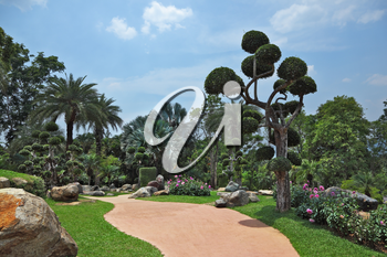 A masterpiece of landscape design - a huge and beautiful park in Thailand. Palm trees and flowers