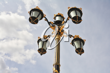 The magnificent Royal Palace in Madrid. Lanterns in the Baroque style