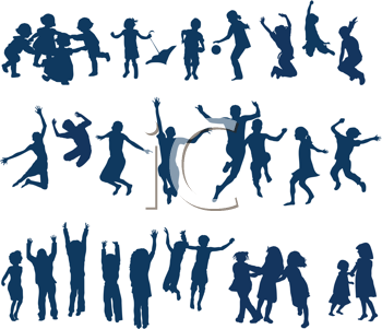 Royalty Free Clipart Image of 30 Kids Jumping and Playing
