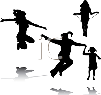 Royalty Free Clipart Image of Jumping People