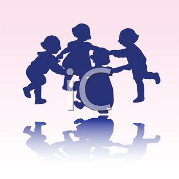 Royalty Free Clipart Image of Little Children in Silhouette at Play