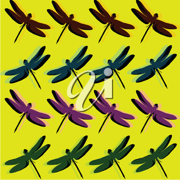 Royalty Free Clipart Image of a Dragonfly Pattern on Yellow