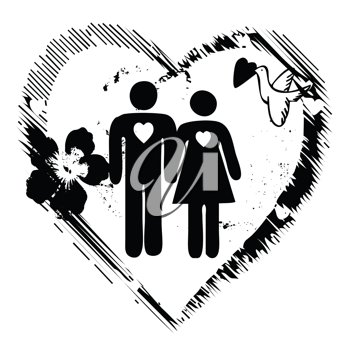 man and woman symbols in love ( black and white)