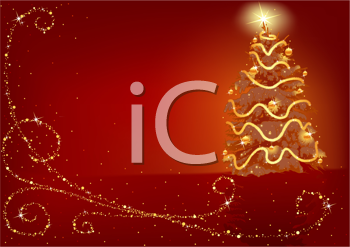 Royalty Free Clipart Image of a Red Christmas Background With a Gold Tree