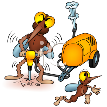 Royalty Free Clipart Image of a Mosquito With a Jackhammer
