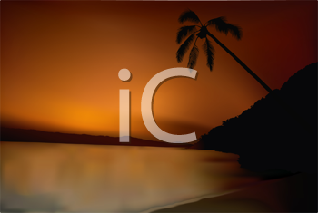 Royalty Free Clipart Image of a Tropical Sunset
