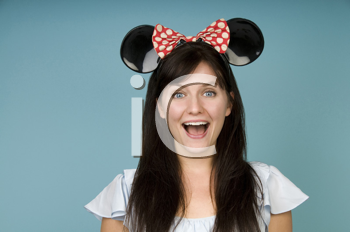 Royalty Free Photo of a Woman in Mouse Ears