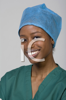 Royalty Free Photo of a Black Woman in Scrubs