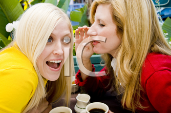 Royalty Free Photo of Two Women Gossipping Over Coffee