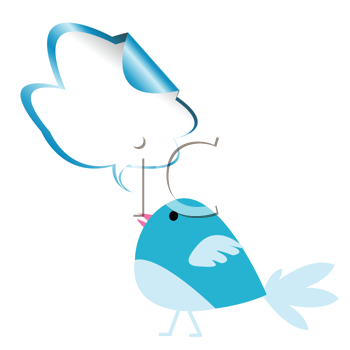 Royalty Free Clipart Image of a Blue Bird With a Chat Bubble