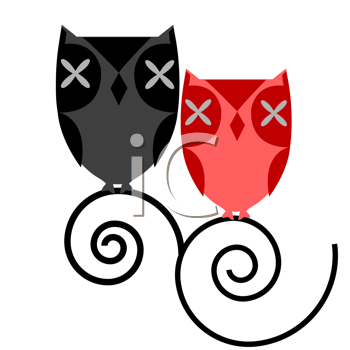 Royalty Free Clipart Image of a Couple of Owls
