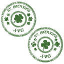 Royalty Free Clipart Image of St. Patrick's Day Stamps